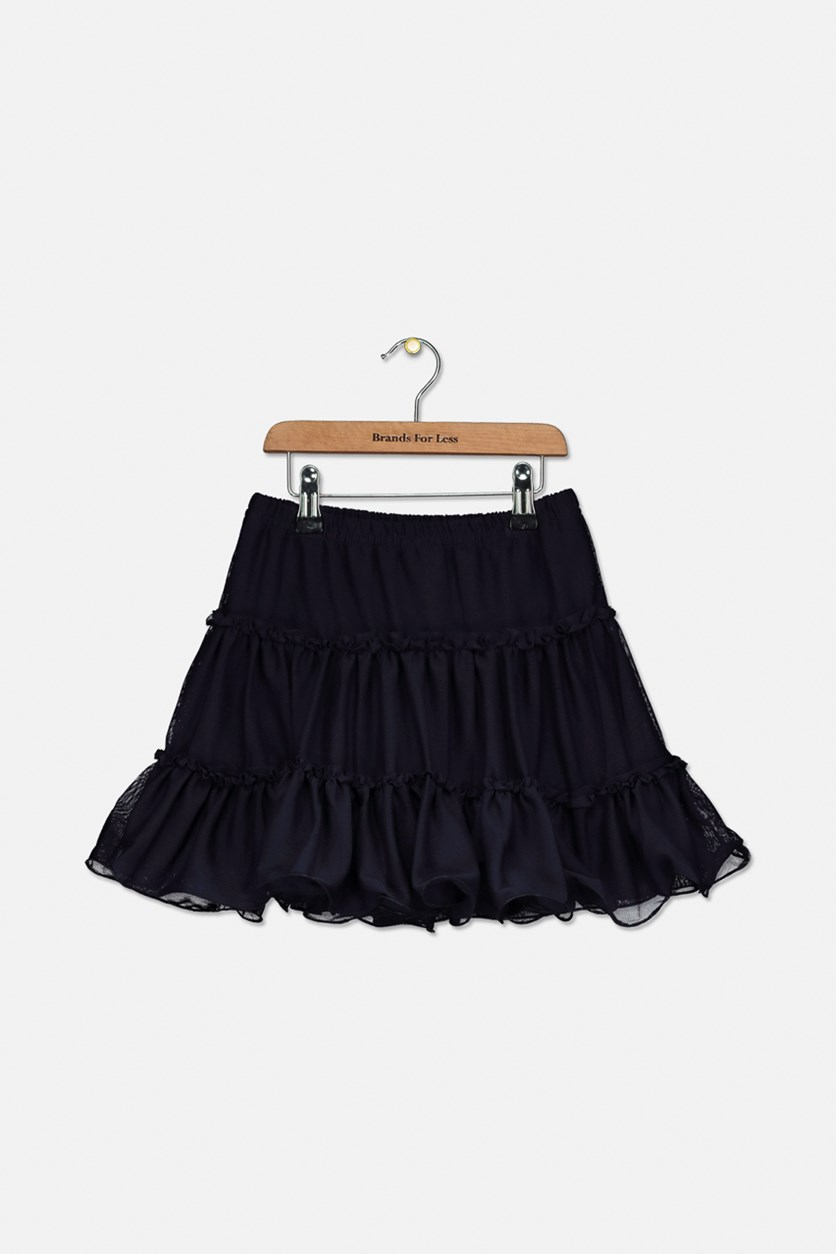 Big Girl's Tutu Mesh Skirt, Navy Blue