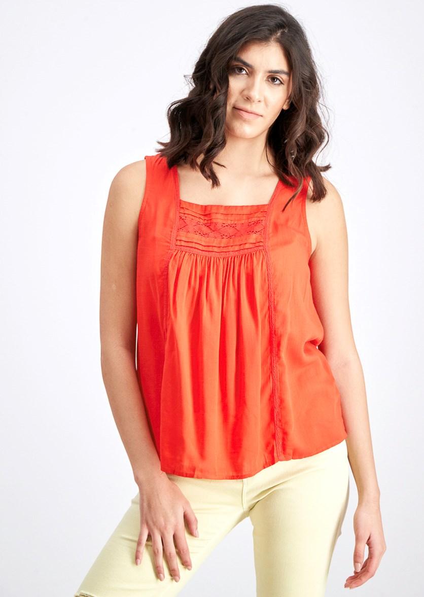 Valentina Lace Detail Top, Cherry Red
