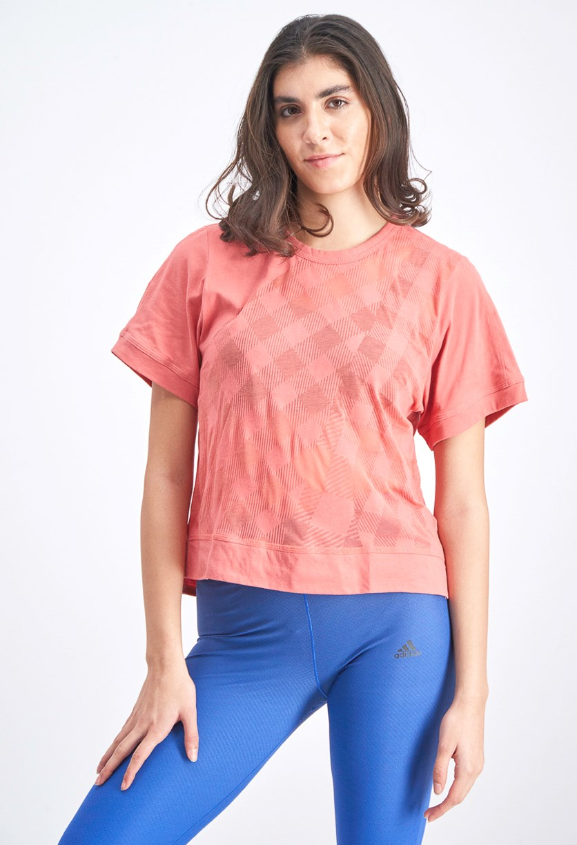 Women's The Cool Logo Check Tee, Peach
