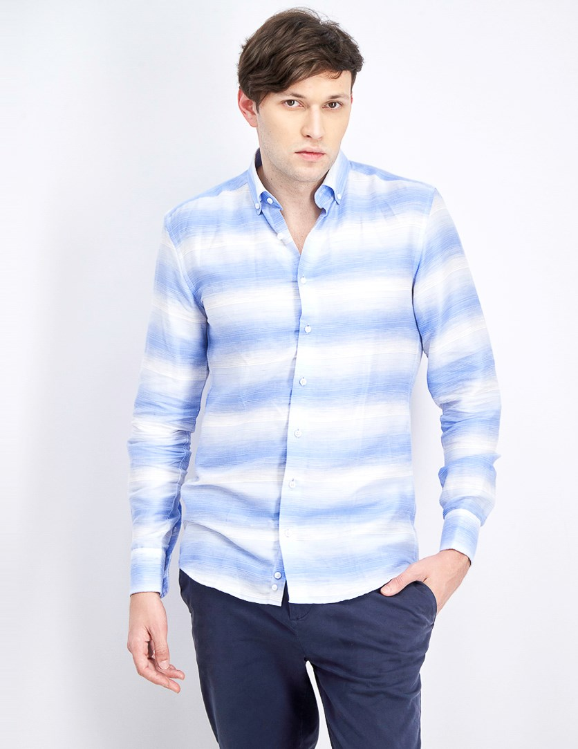 Men's Pointed Collar Shirt, White/Blue