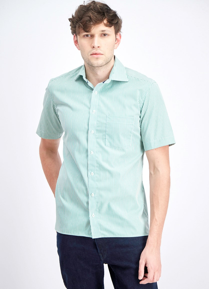 Men's Stripes Short Sleeve Modern Fit Shirt, Green/White