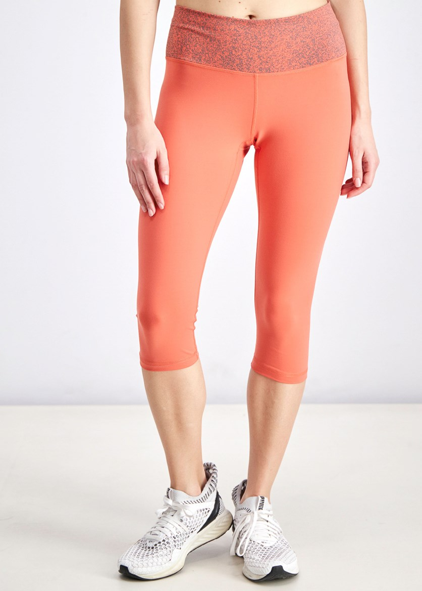 Women's High-Rise Printed Capri Tights, Coral