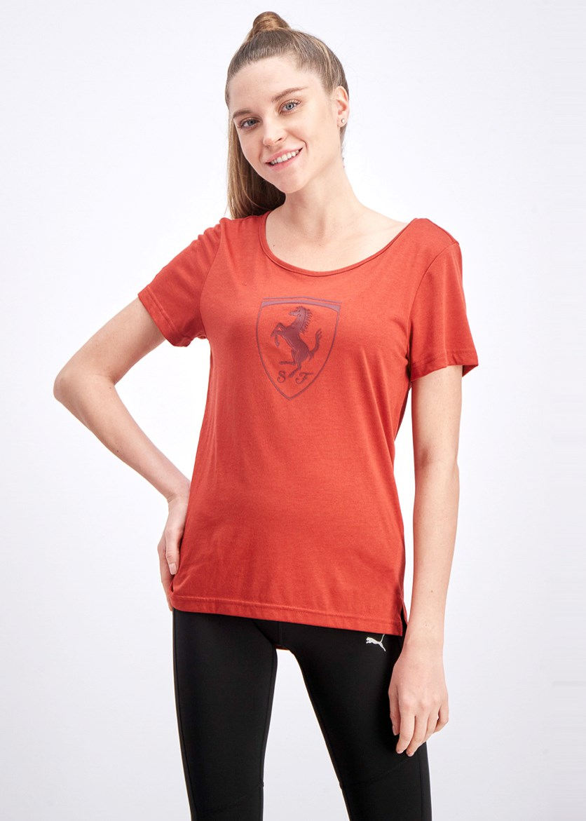 Women's Ferrari Big Shield Tee, Red