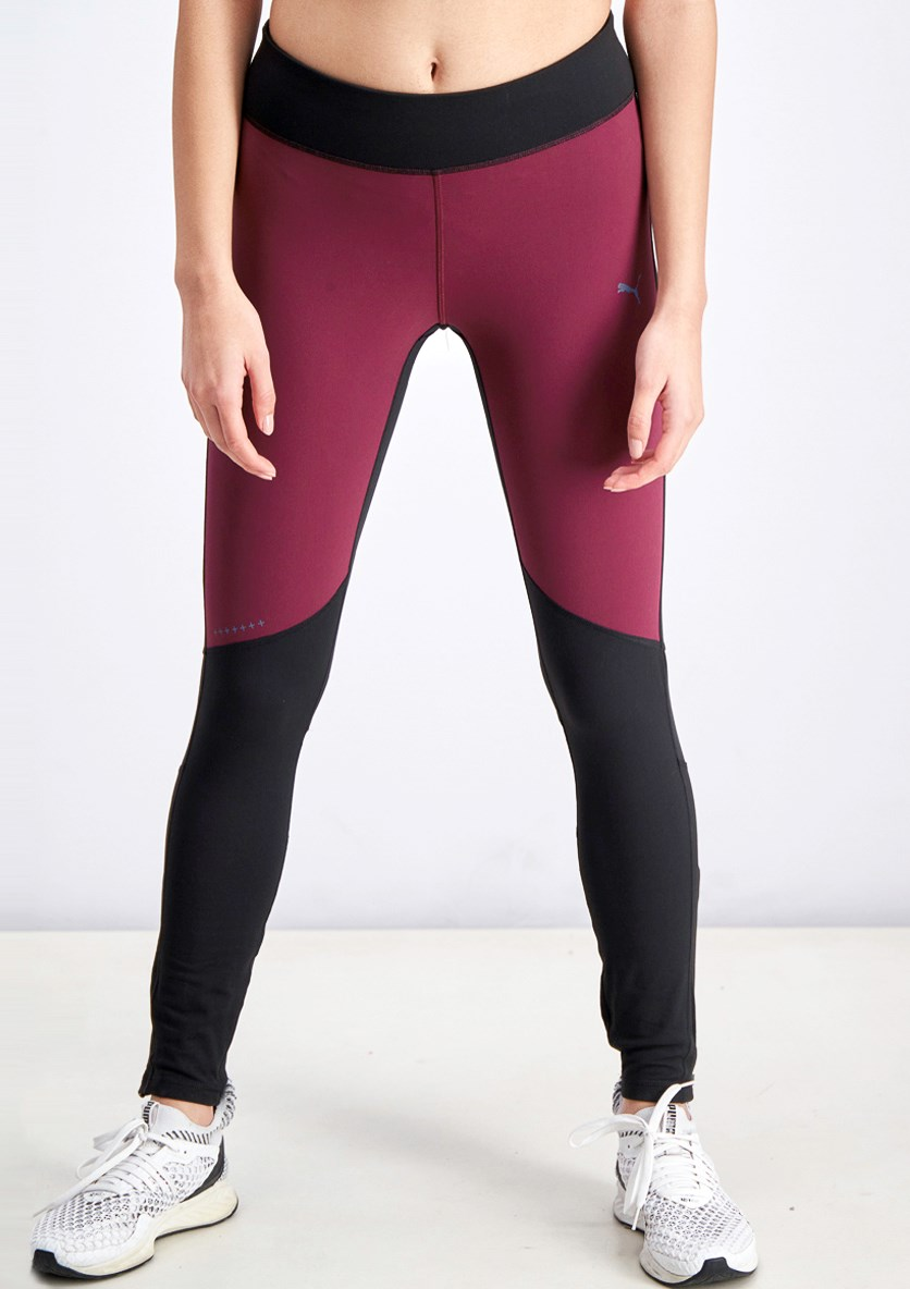 Women's Winter Running Leggings, Maroon/Black