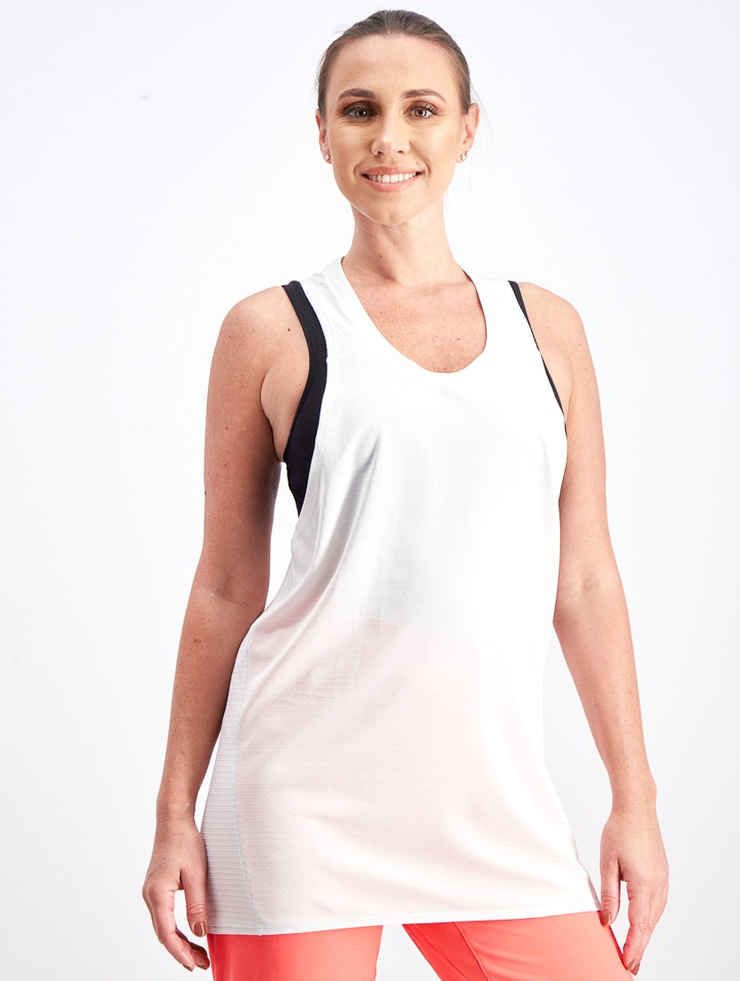 Women's Sleeveless Running Tee, Gray White