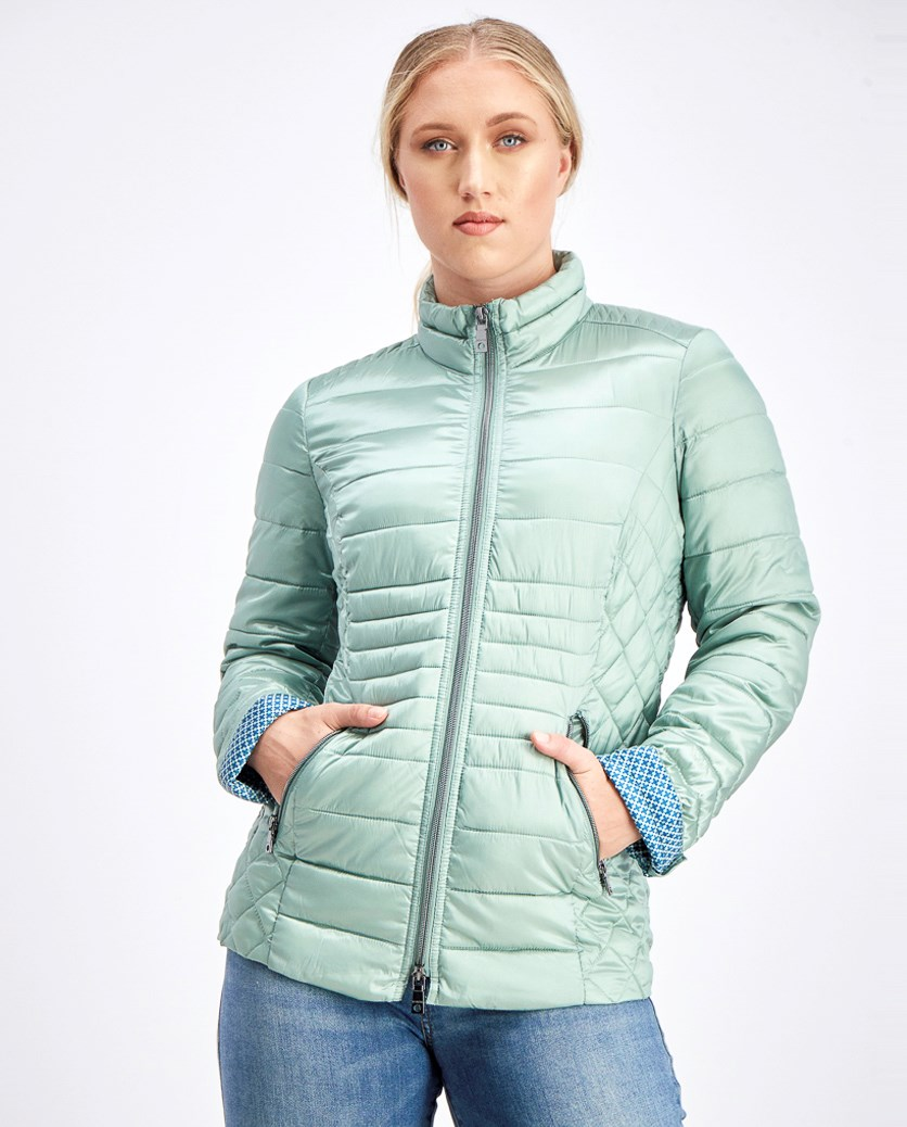 Women's Stand-up Quilted Jacket, Light Green