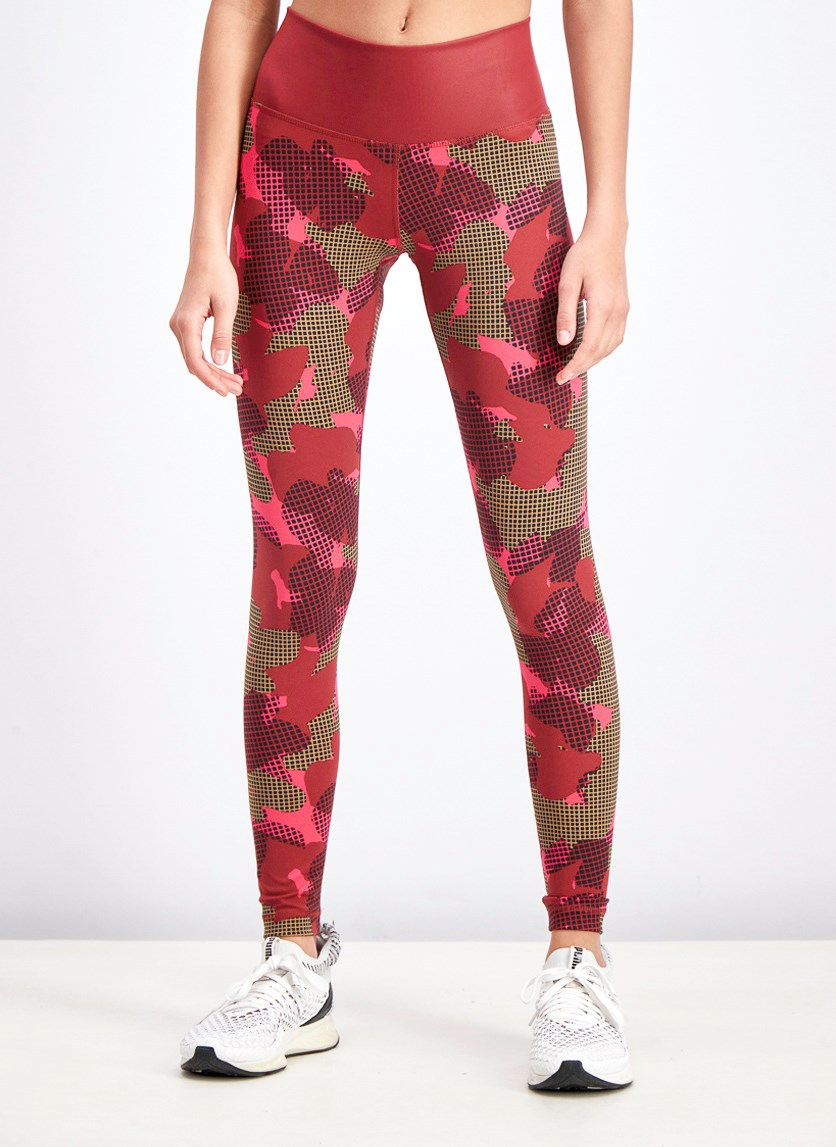 Women's Allover Print Believe This Tights, Maroon Combo