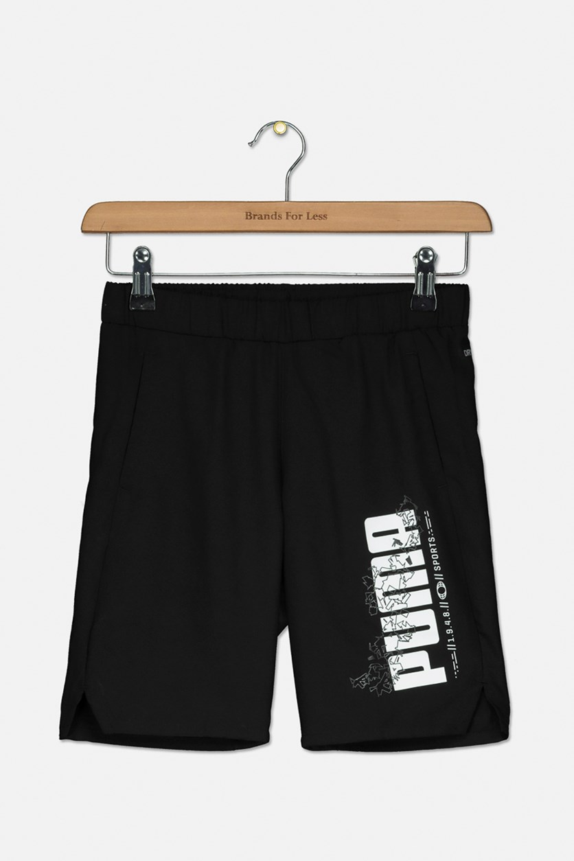 Boys Active Sports Woven Shorts, Black