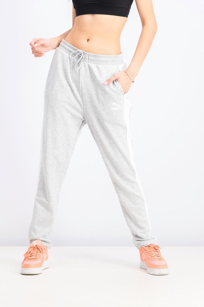 Women's French Terry Track Pants, Light Gray