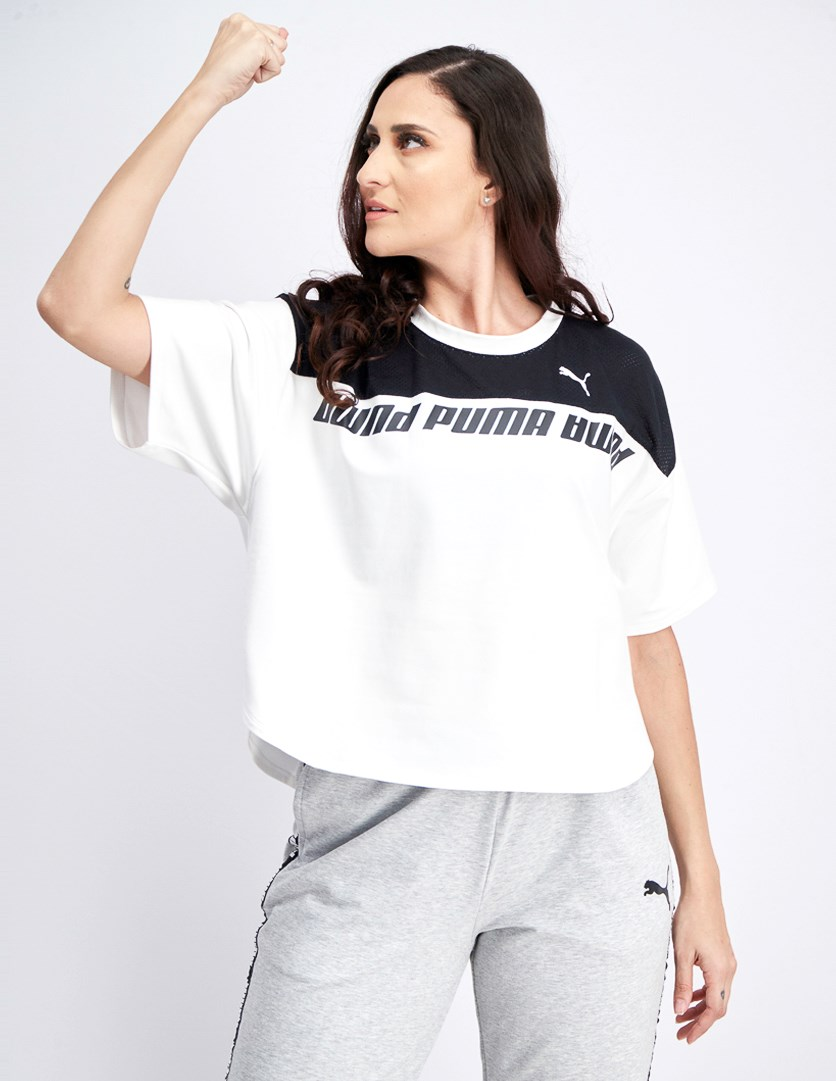 Women's Modern Sports Sweat Tee, White/Black