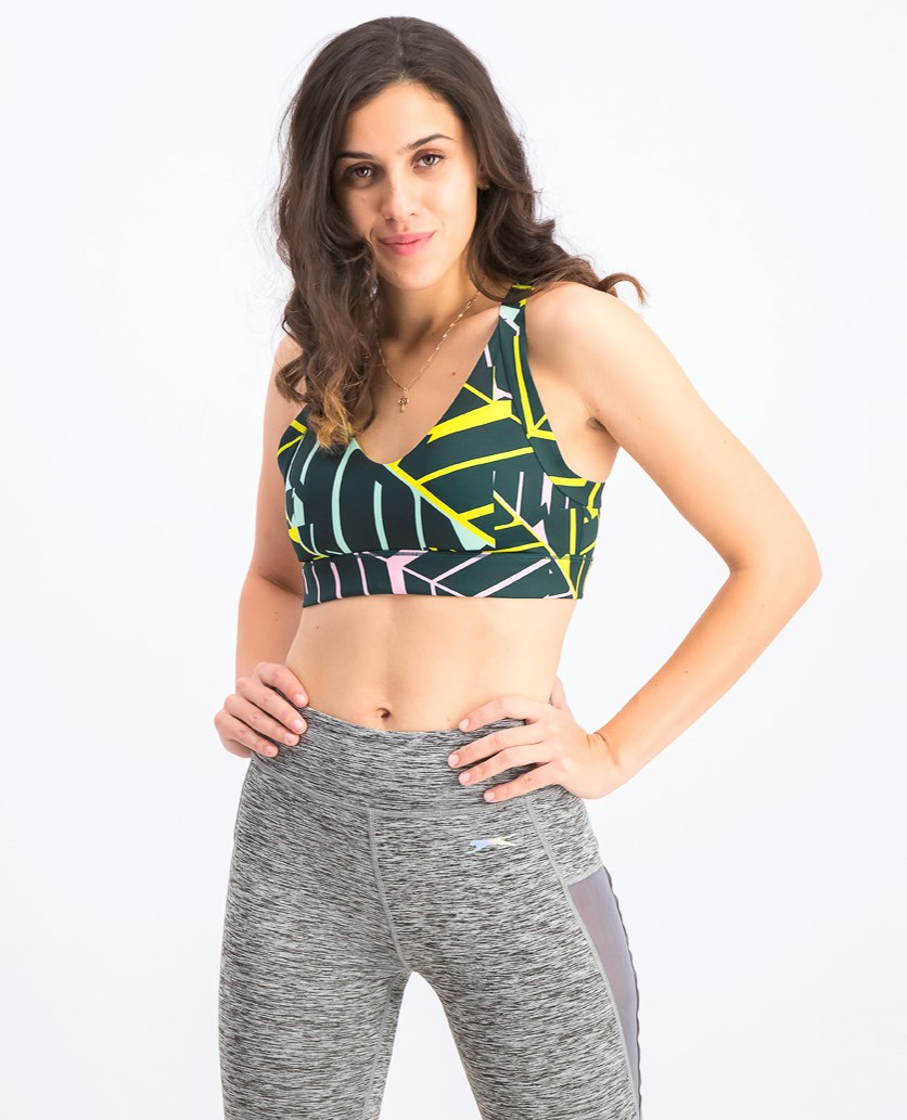 Women's Cosmic Sports Bra, Green/Pink