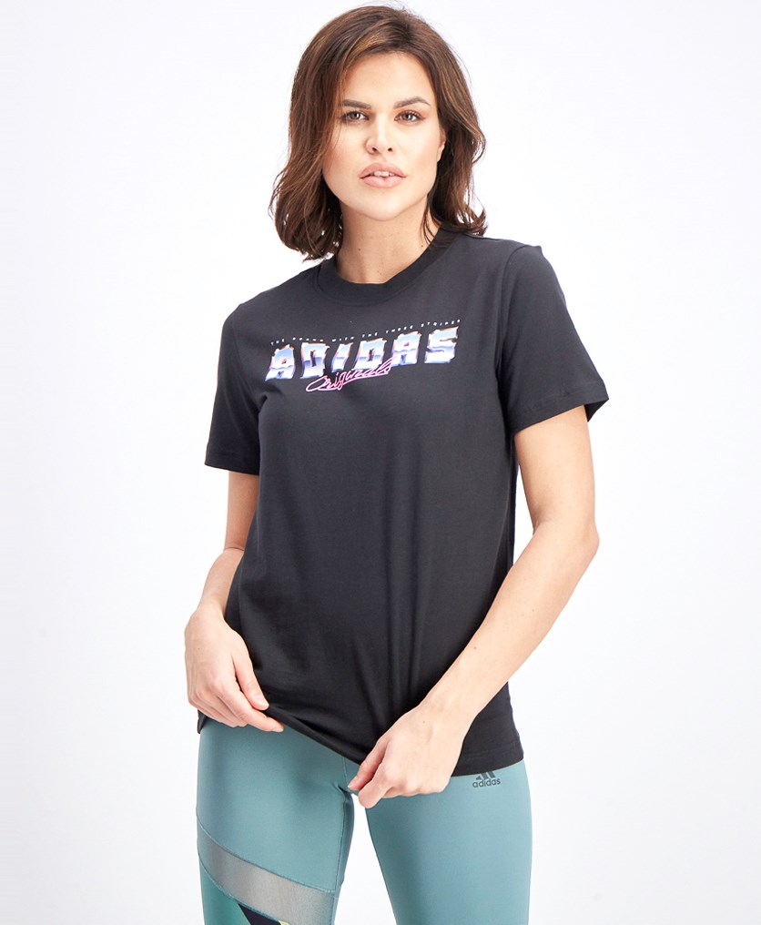 Women's  Brand With Three Stripe Graphic Tee, Black