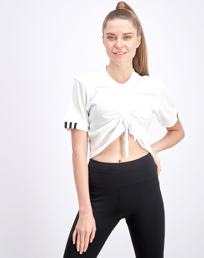 Women's Adjustable Crop Shirt, White