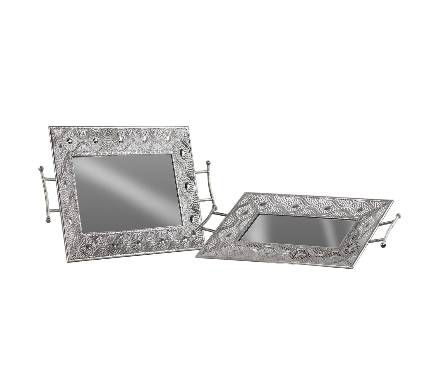 Metal Rectangular Tray with Mirror Surface, Silver
