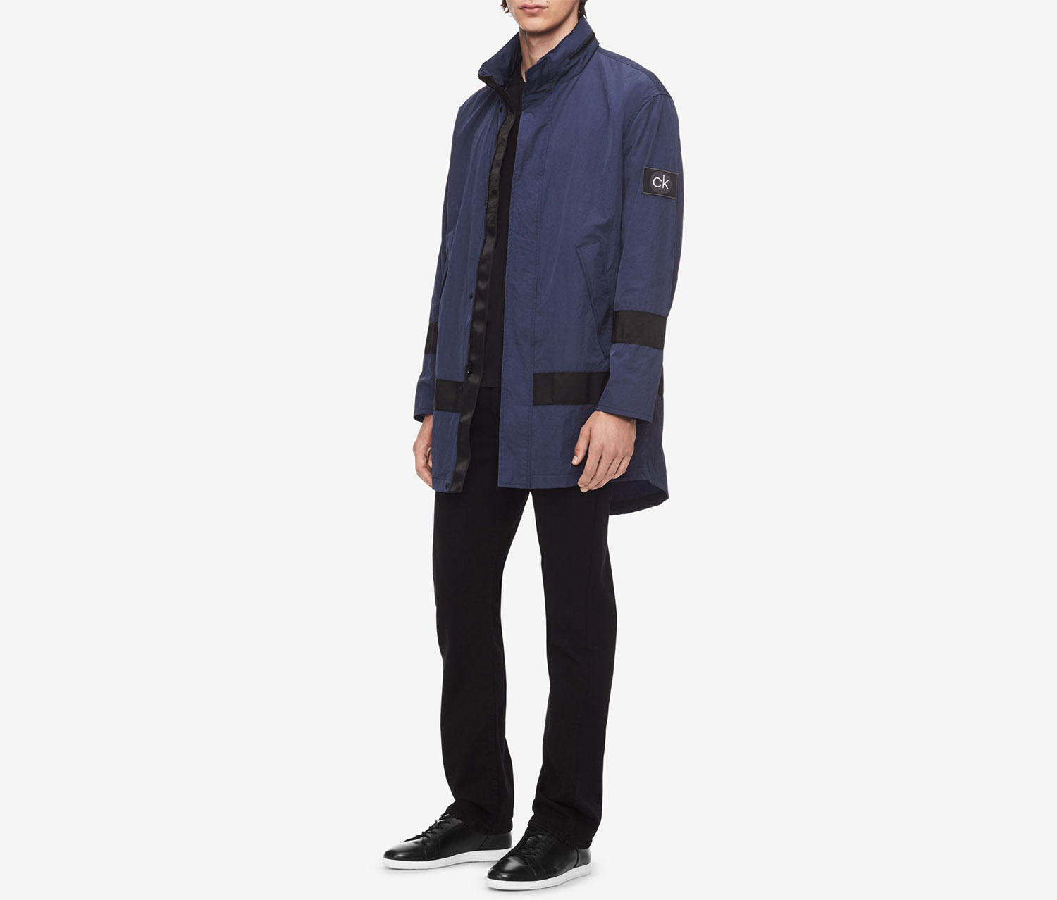 Men's Lightweight Long Raincoat, Navy
