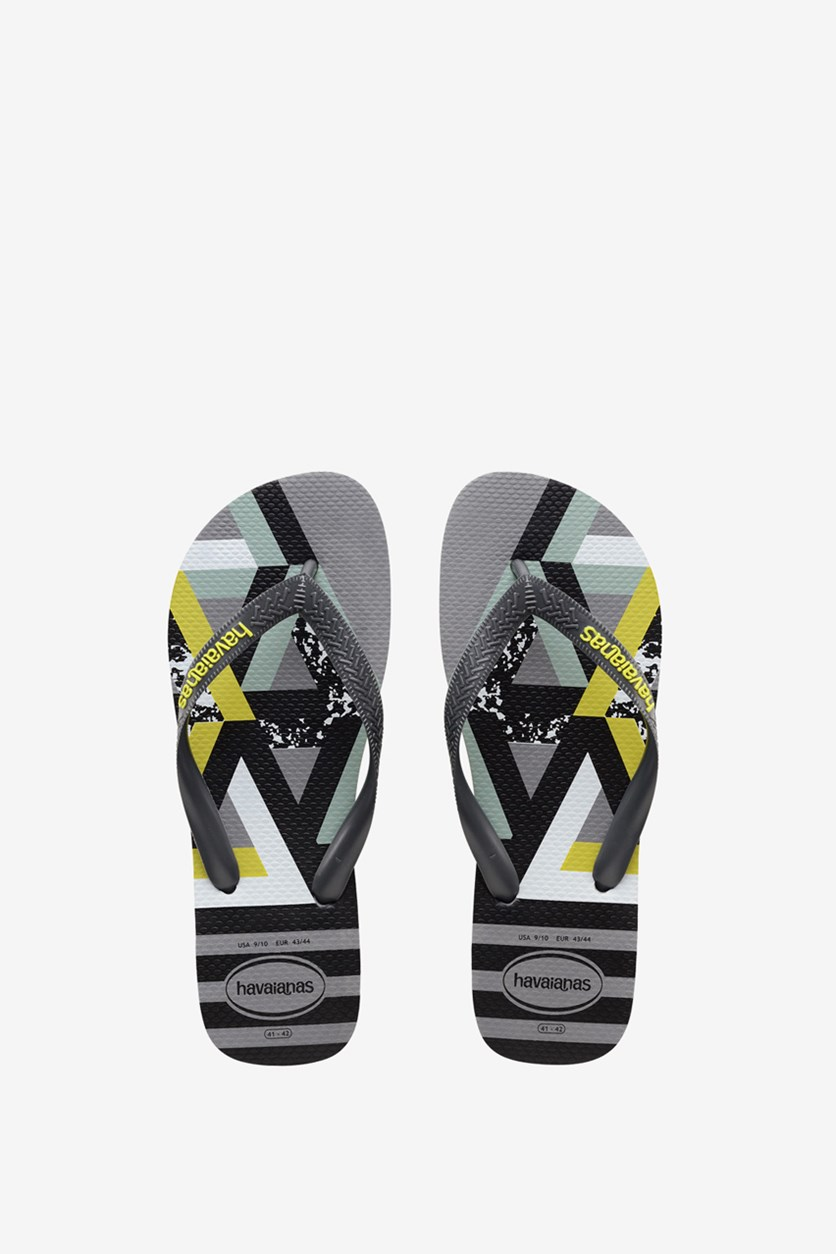 Men's Trend Flip Flop, Steel Grey/Neon Yellow