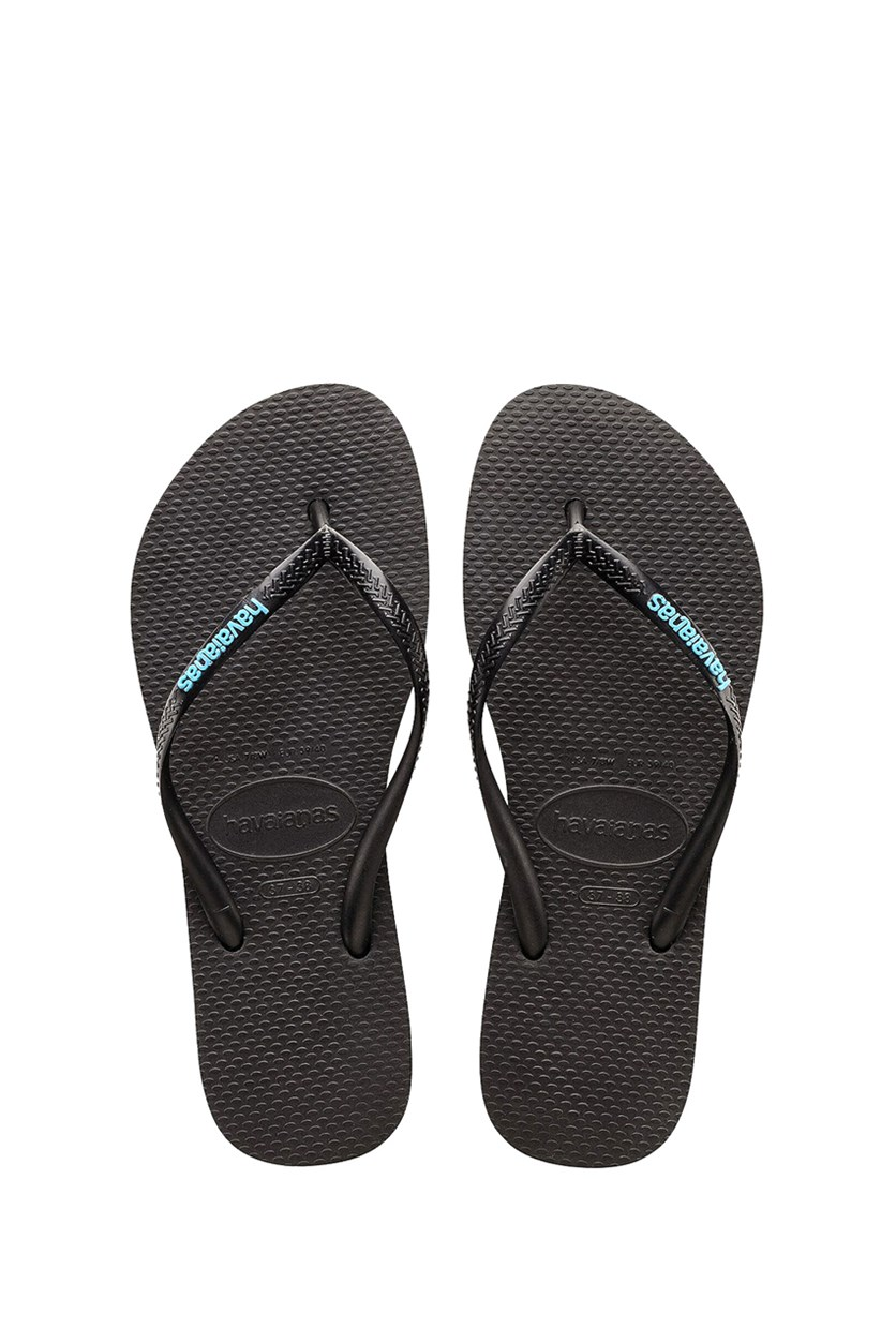 Kids Girls Slim Logo Pop Up Flip Flop, Black/Blue