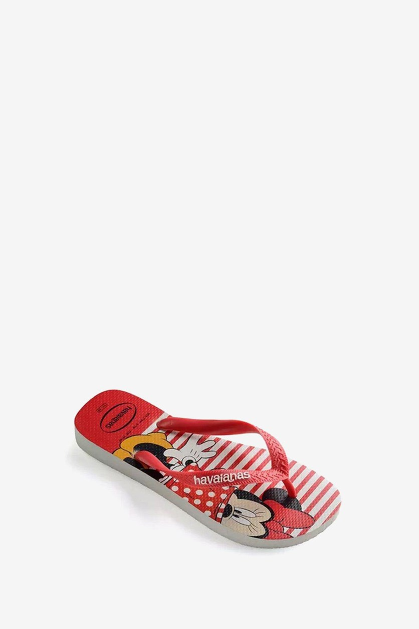 Unisex Disney Stylish  Flip Flop, White/Red Combo
