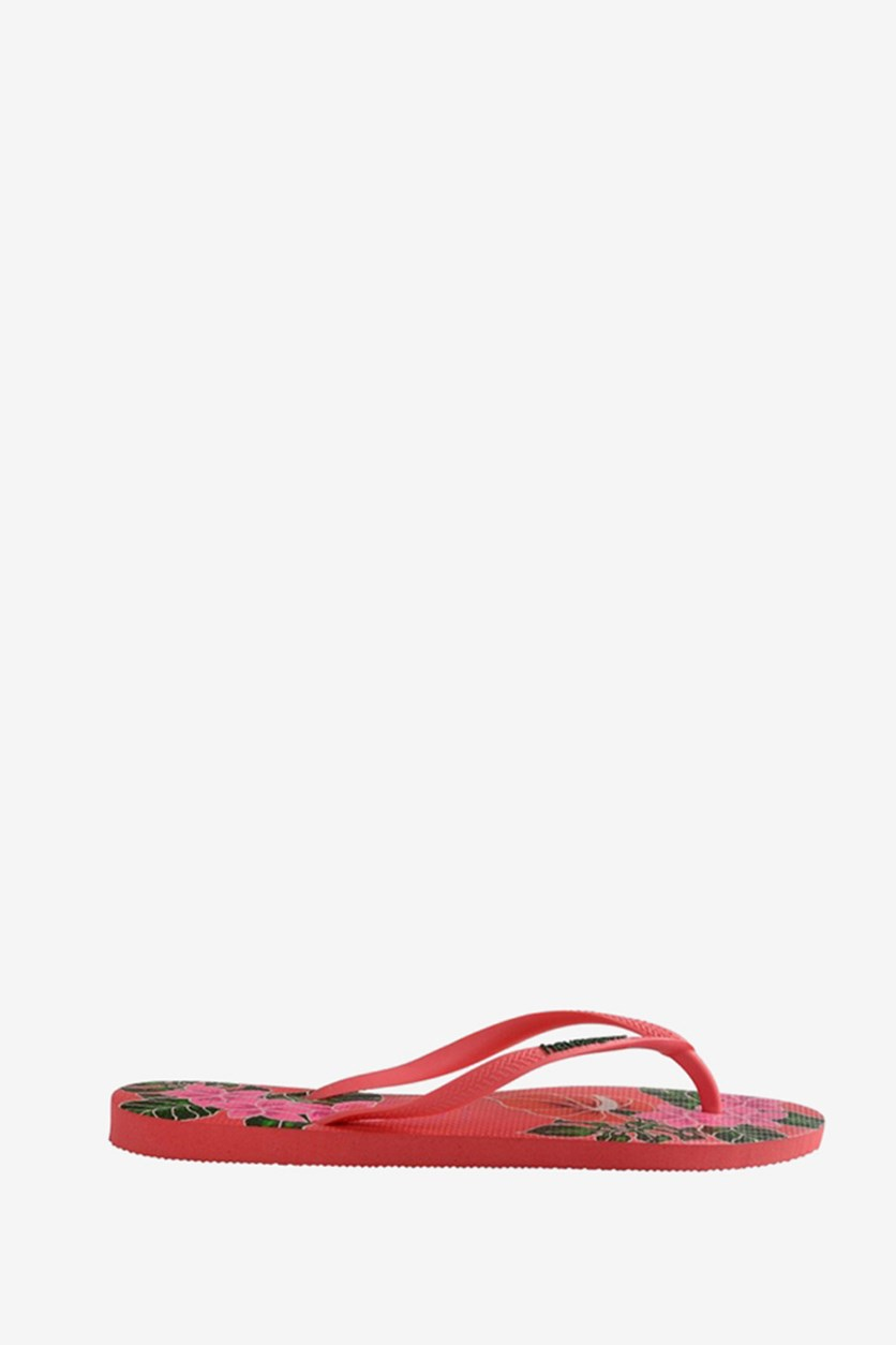 Kids Girl's  Slim Floral Flip Flop, Coral New