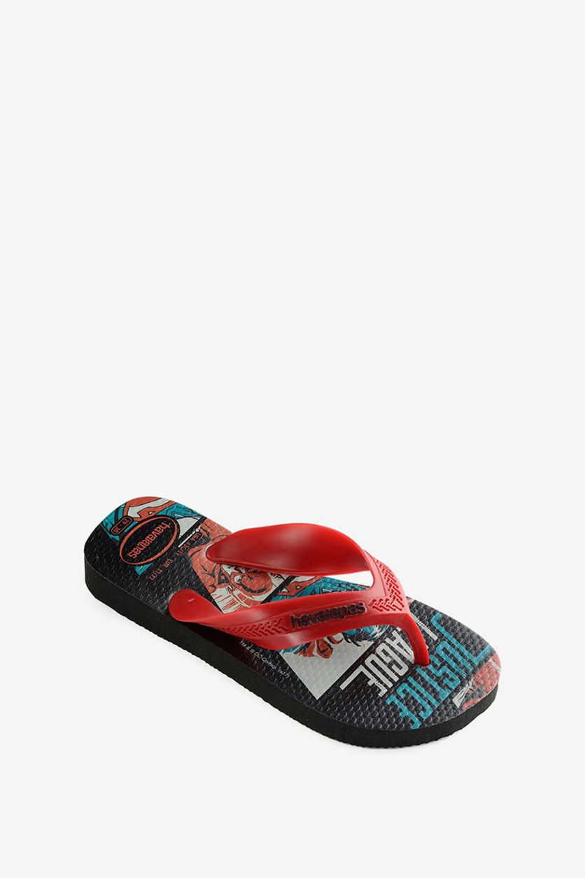 Kids Boys Max Herois Slipper, Black/Red Apache