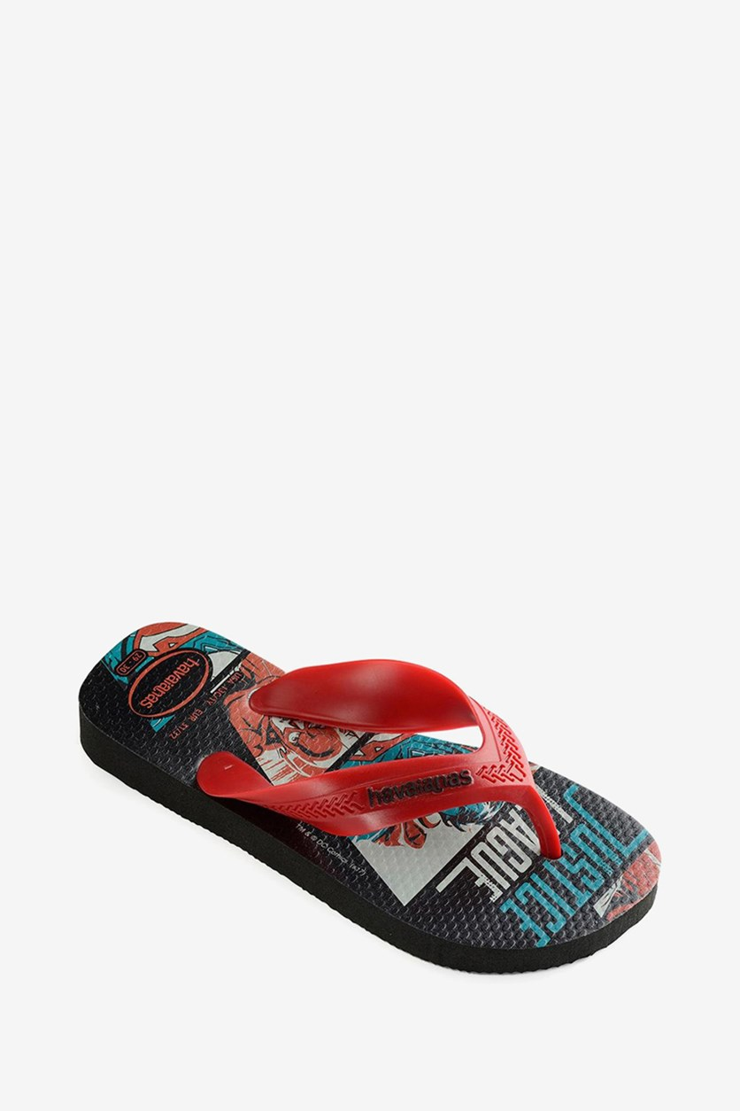 Toddlers Boys Max Herois Slipper, Black/Red Apache