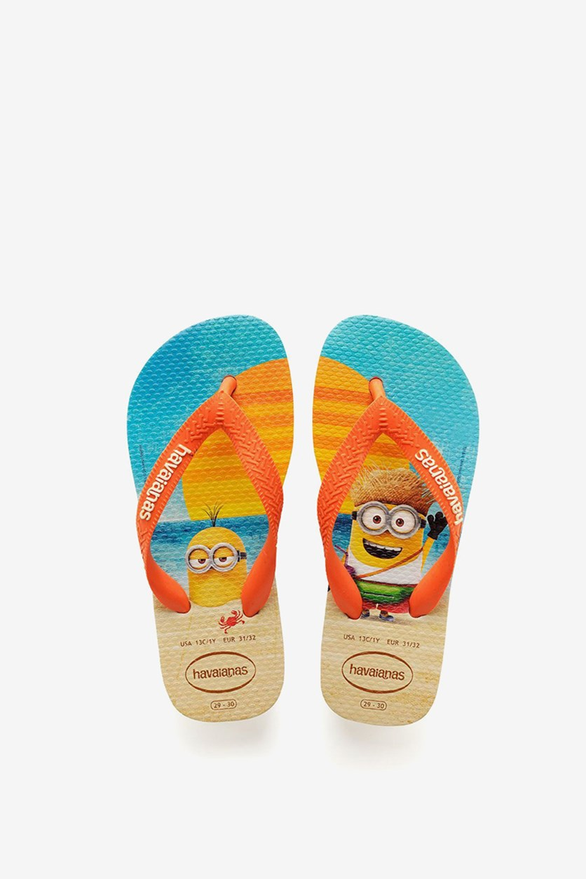 Kids Boys Minions Flip Flop, Beige/Orange