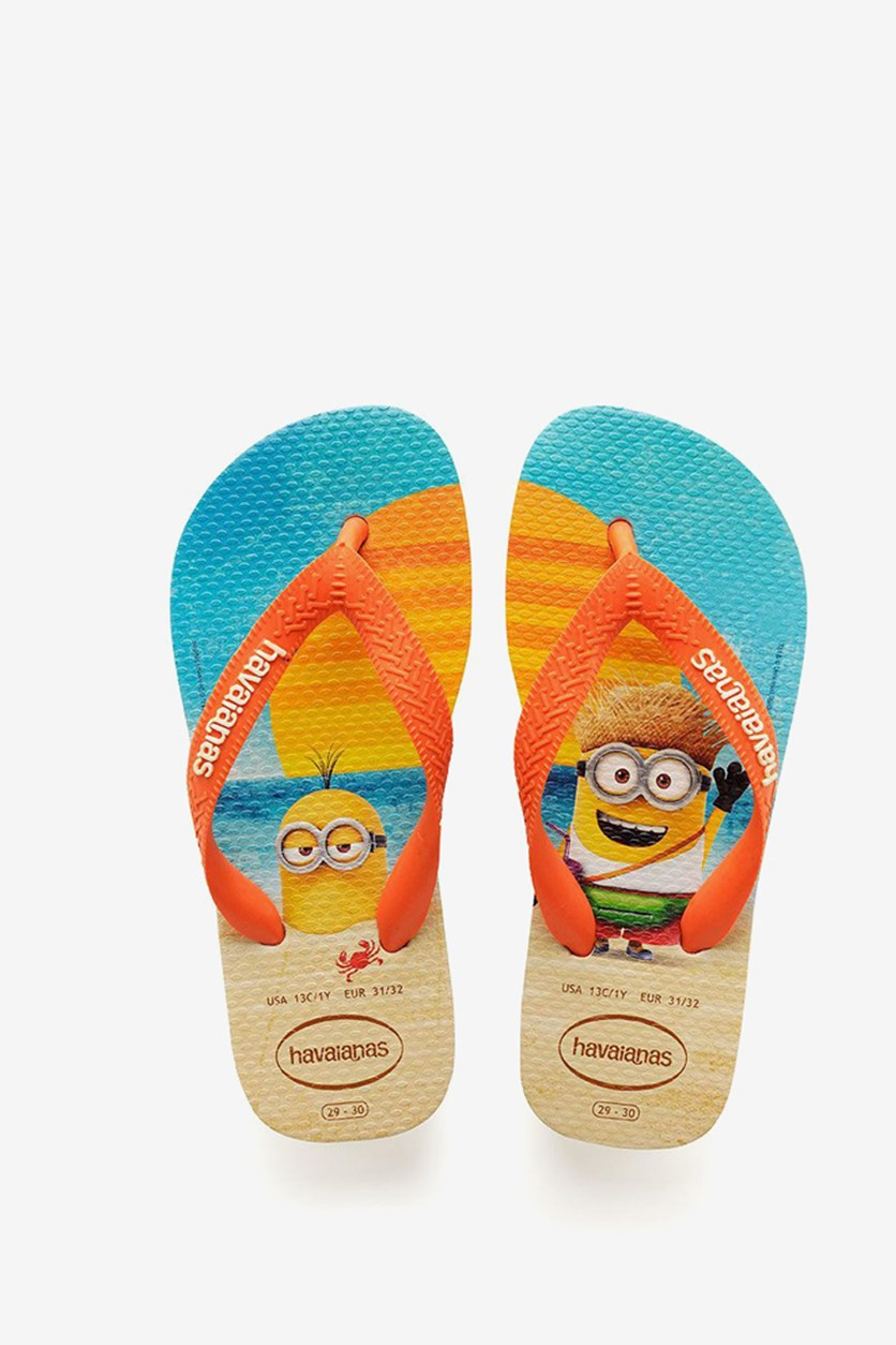 Toddlers Boys Minions Flip Flop, Beige/Orange