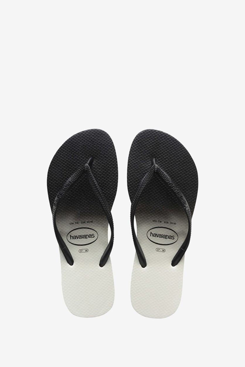 Men's Slim Dip Dye Slipper, Black/White