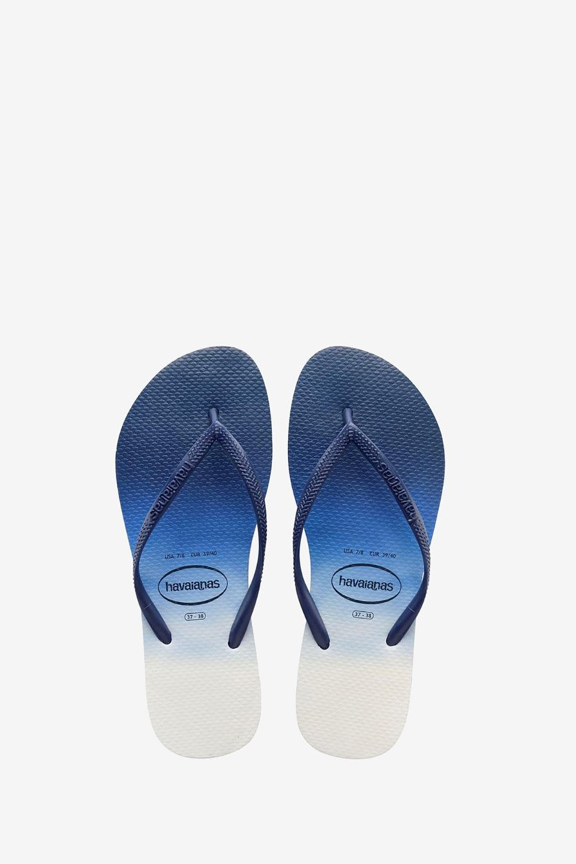 Boy's Slim Dip Dye Slipper, Navy Blue/White