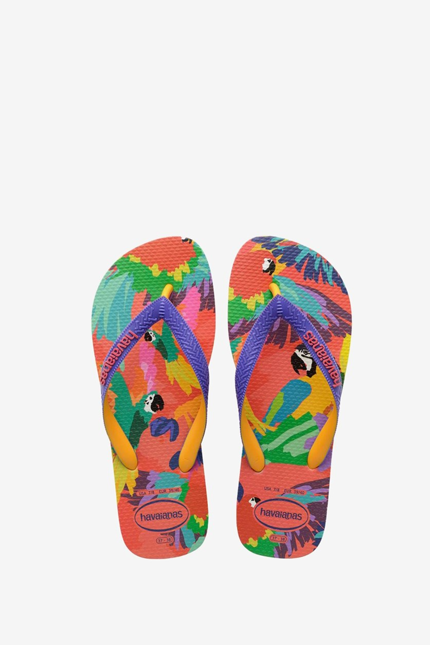 Women's Graphic Printed Round Toe Flip Flops, Flamingo