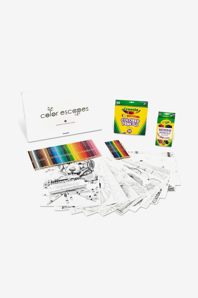 Color Escapes Adult Coloring Kit, White/Green Combo