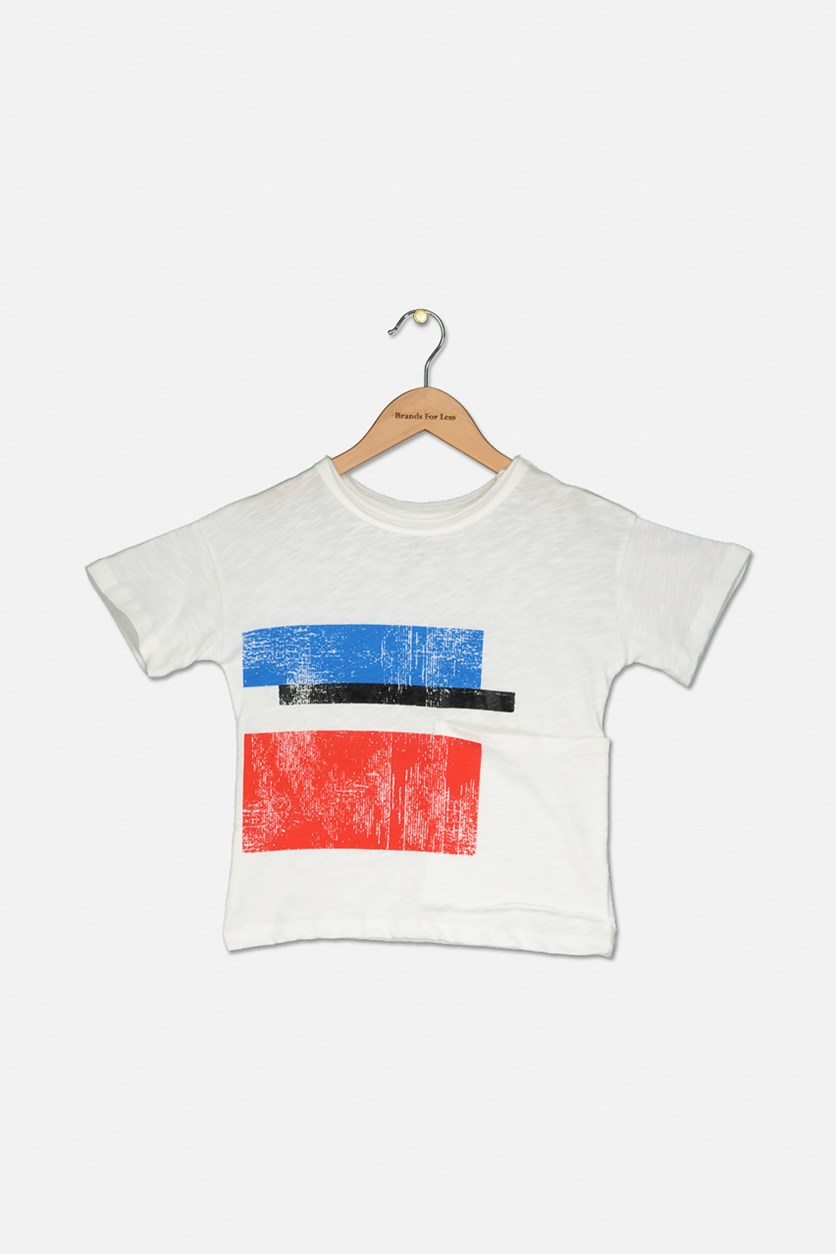 Toddler Boy's Abstract Shapes Graphic Shirt, White
