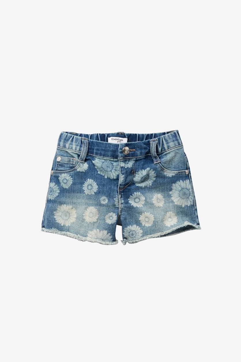 Little Girl's Floral Print  Bleached Out Denim Short, Blue Wash