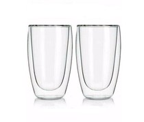 2 Double Wall Coffee Glasses, Transparent