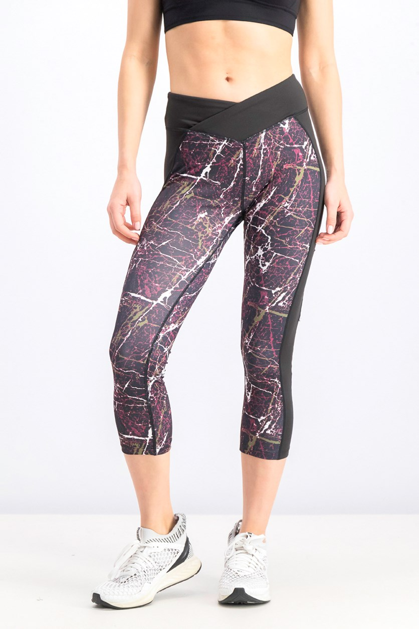 Women's Marble Print leggings, Black Combo