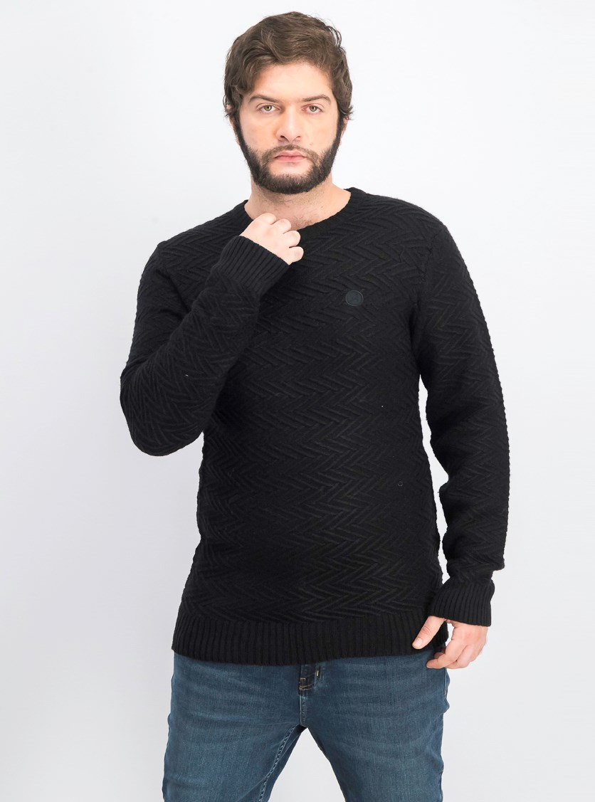 Men's Pullover Textured Crawford Sweater, Black