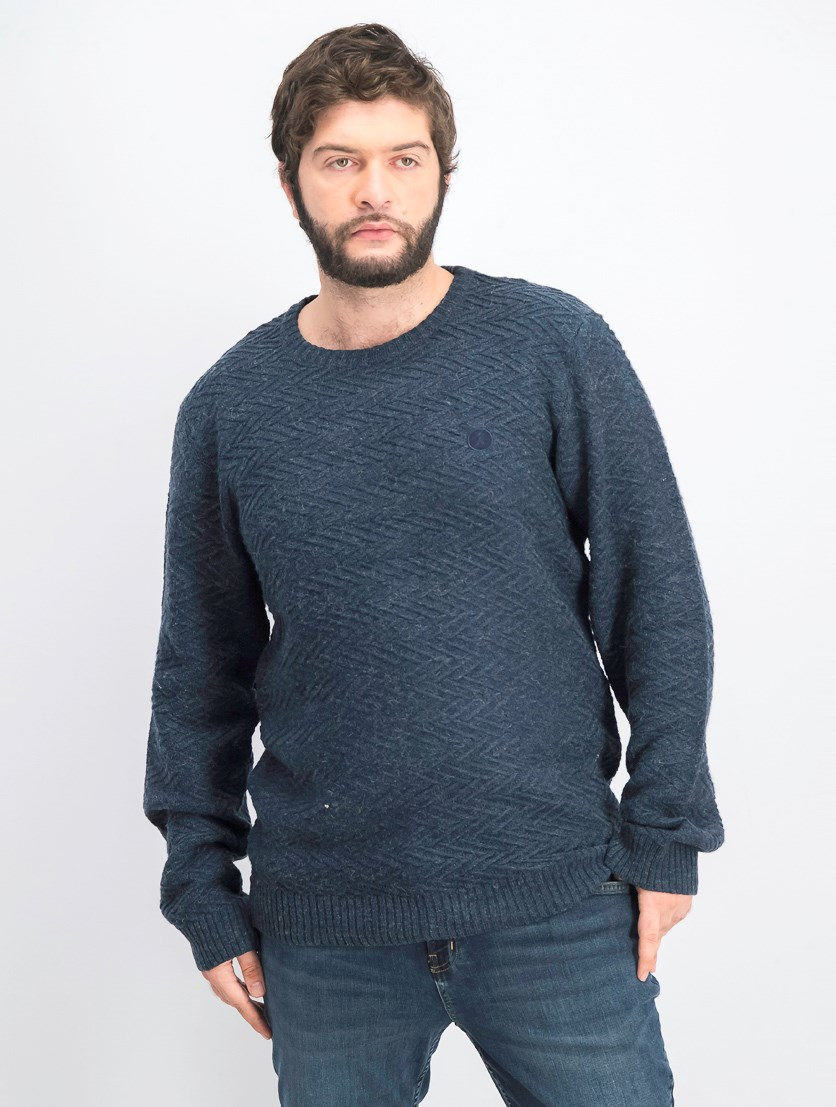 Men's Pullover Textured Crawford, Navy Blue