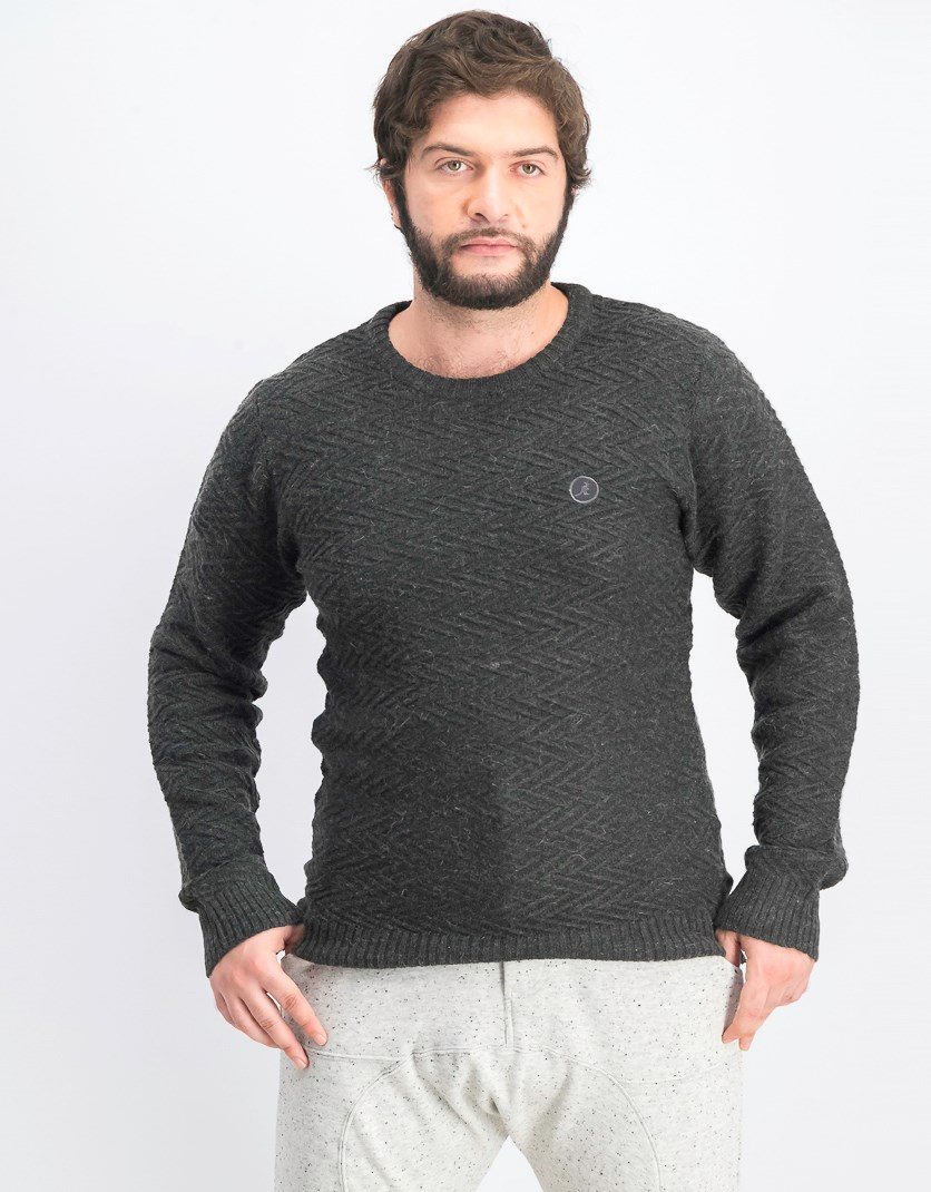 Men's Pullover Textured Crawford Sweater, Charcoal