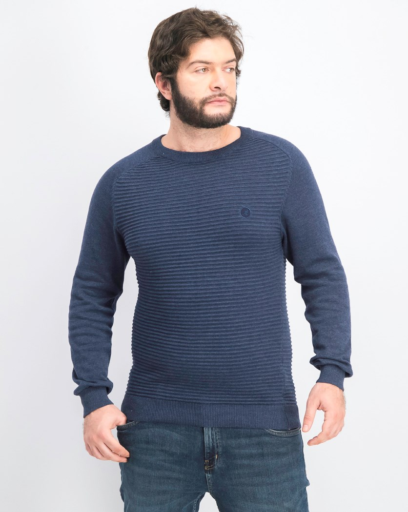 Men's Pullover Textured Becker Sweater, Navy Blue