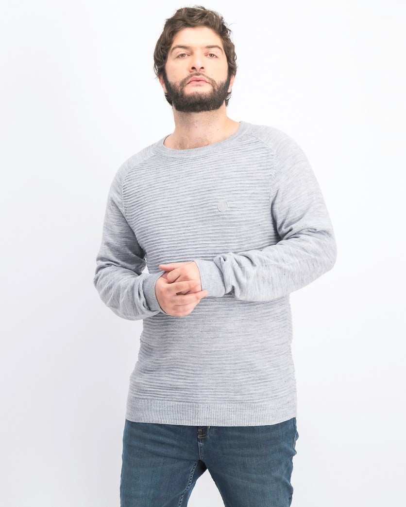 Men's Pullover Textured Becker Sweater, Grey