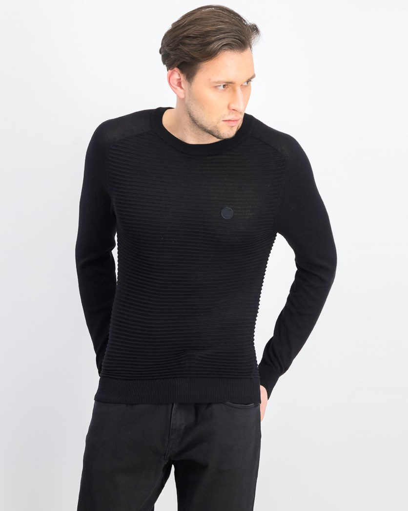 Men's Pullover Textured Becker Sweater, Black