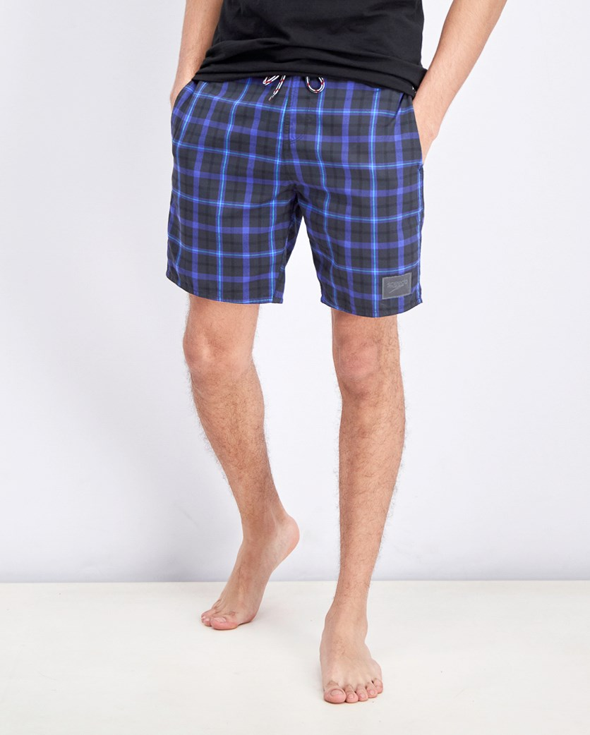 Men's Plaid Short, Grey/Blue