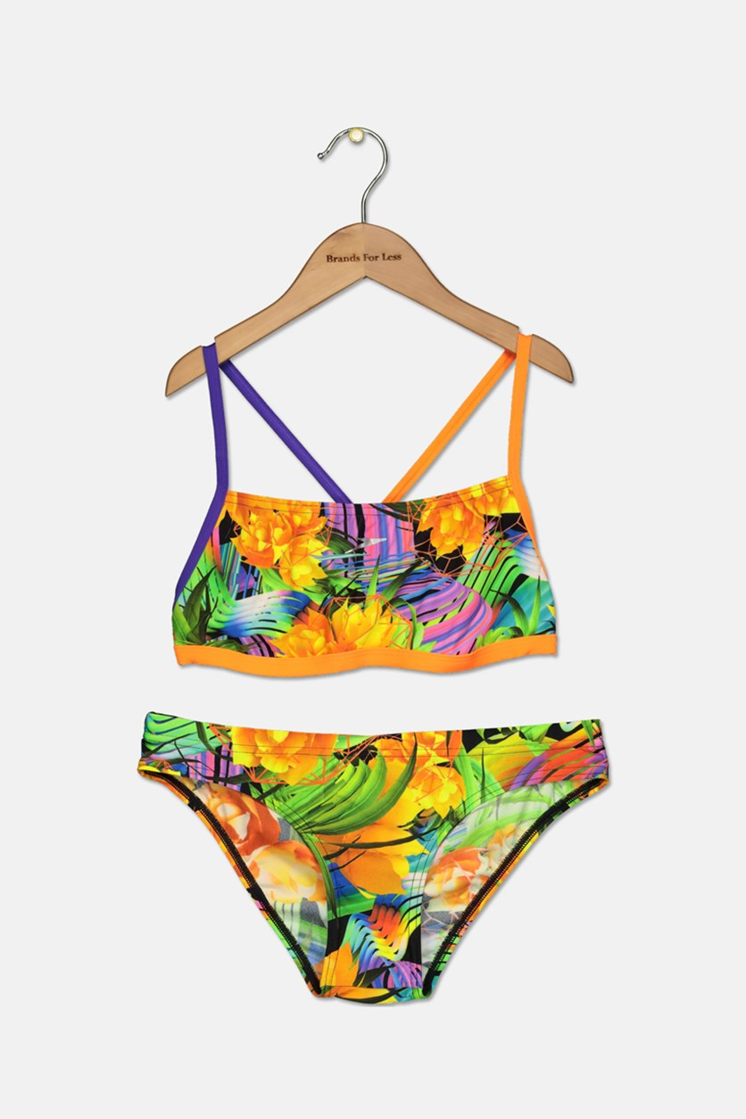 Flipturns Funk Burst Two Piece Crossback Swimsuit, Orange Combo