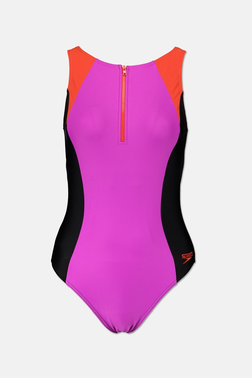 Women's Hydra Suit One Piece, Purple/Black/Orange