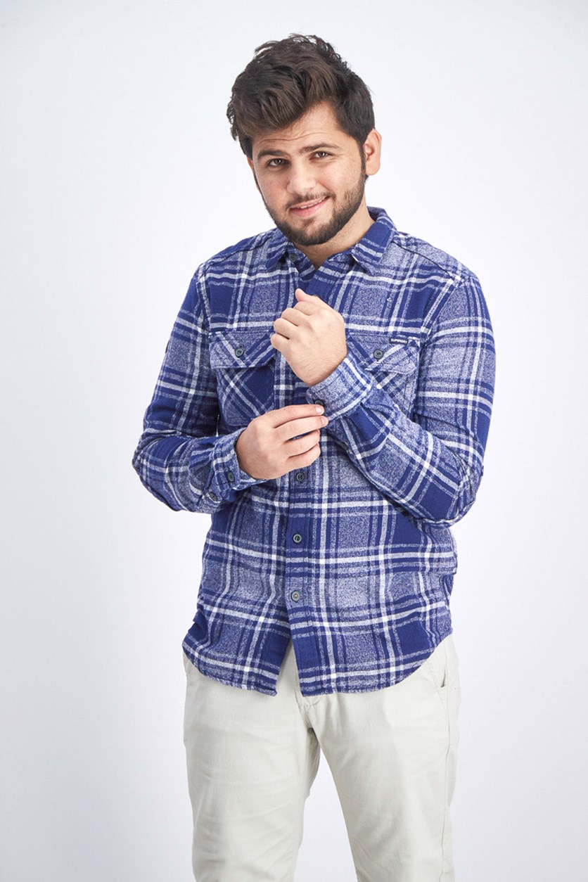 Milled Flannel Long Sleeve Button-Down Shirt, Navy Check