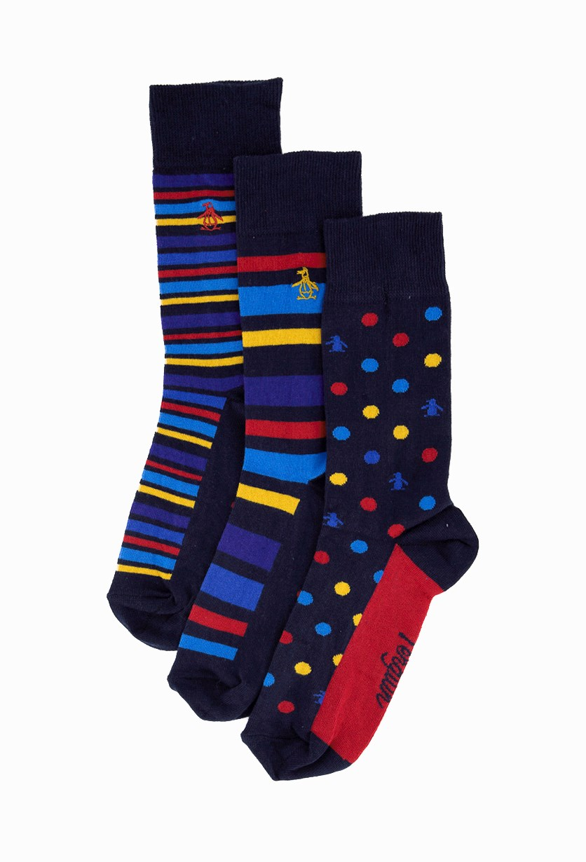 Men's 3 Pack Of Socks In Box, Blue/Red/NavyBlue/Yellow