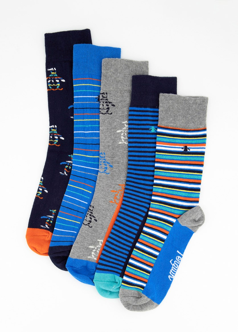Men's 5 Pack Socks Gift Set, Navy Blue/Blue/Grey/Orange