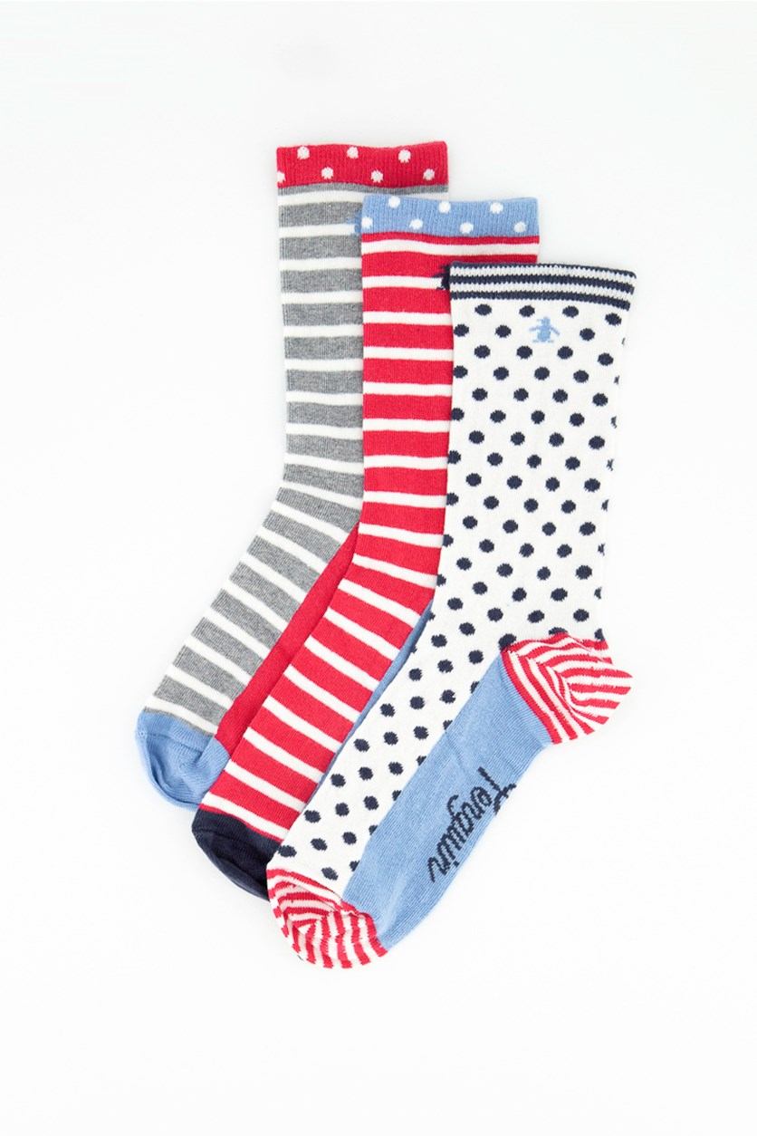 Ladies 3 Pack Dot Socks, Red/White/Grey