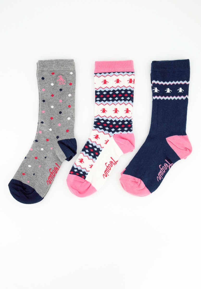 Ladies 3 Pack Printed Socks, White/Grey/Navy