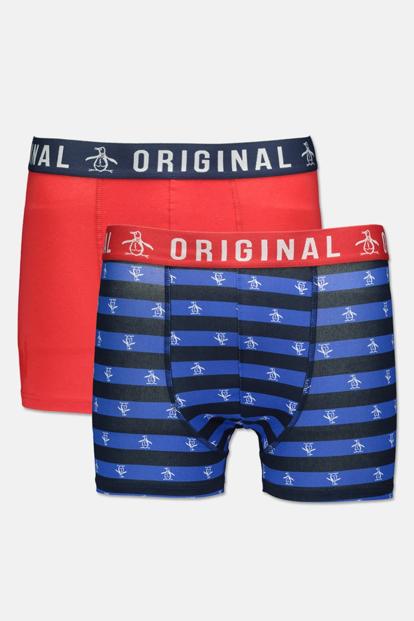 Men's 2 Pack Printed Trunks, Red/Navy